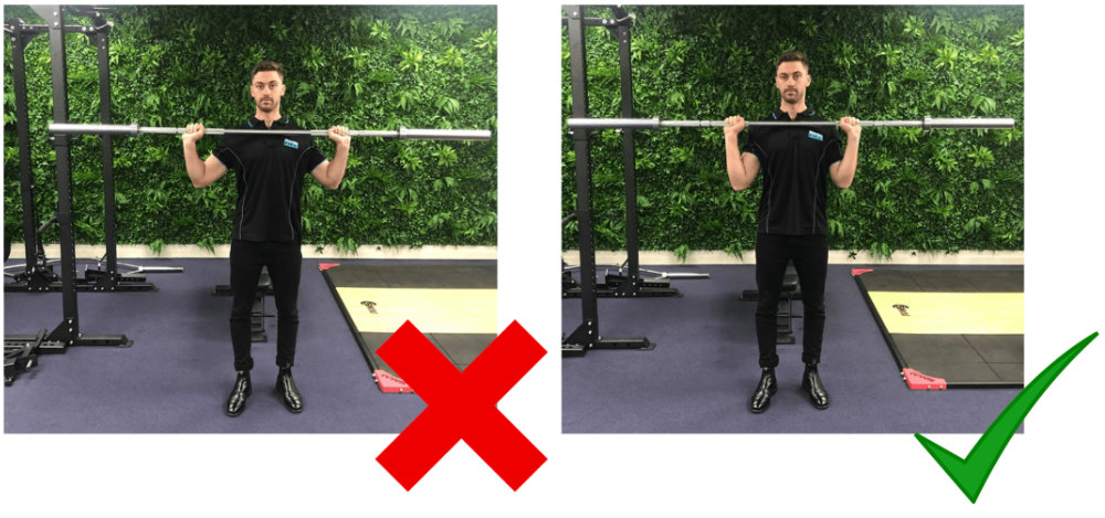 Shoulder Press Elbow Position With Barbell